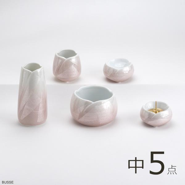 画像1: 仏具 セット やわらぎ 九谷銀彩ピンク 中サイズ 5点 (1)